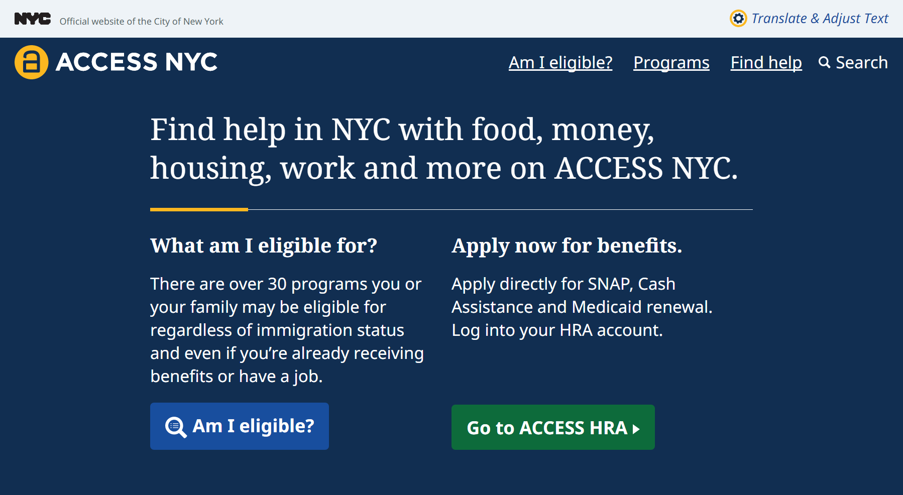 ACCESS NYC homepage